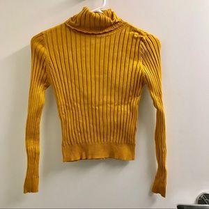 Zara Knit mustard yellow turtle neck sweater
